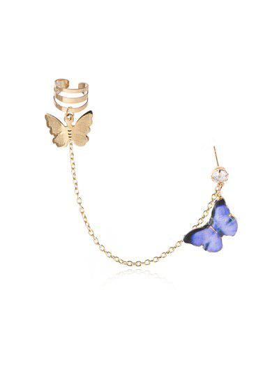 Colored Butterfly Pendant Chain Ear Cuff - Purple
