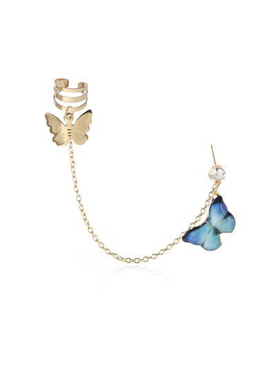 Colored Butterfly Pendant Chain Ear Cuff - Deep Sky Blue