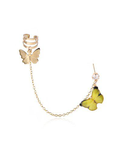 Colored Butterfly Pendant Chain Ear Cuff - Yellow