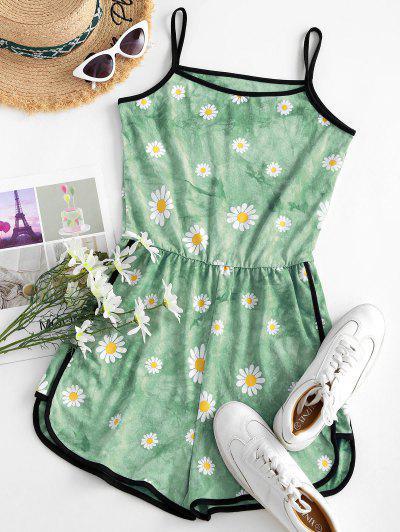 Tie Dye Daisy Ringer Cami Romper - Light Green L