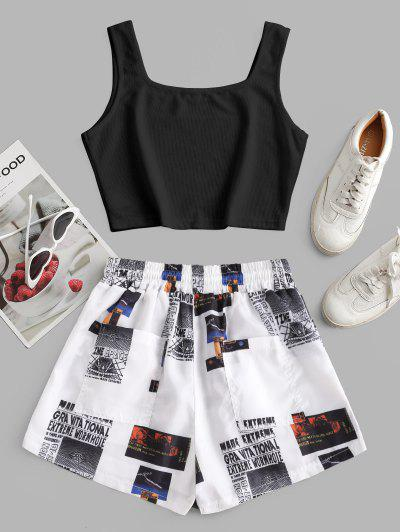 Cropped Ribbed Printed Two Piece Set, White