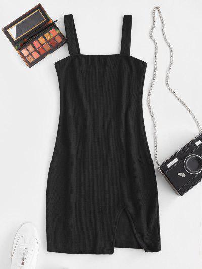 Ribbed Slit Sheath Dress - Black S