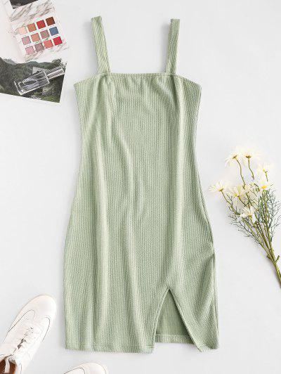 Ribbed Slit Sheath Dress - Green M