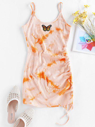 ZAFUL Butterfly Embroidery Tie Dye Cinched Dress - Dark Orange S