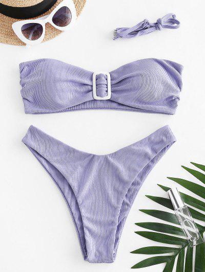 ZAFUL Gerippter Bandeau Bikini Badebekleidung Mit Hohem Schnitt - Helles Lila L