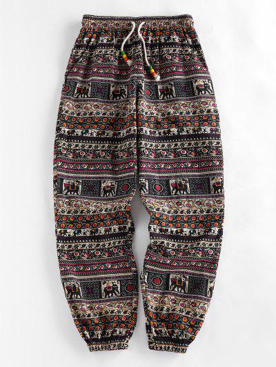 ZAFUL Tribal Print Beading Drawstring Jogger Pants Set - Multi-a S