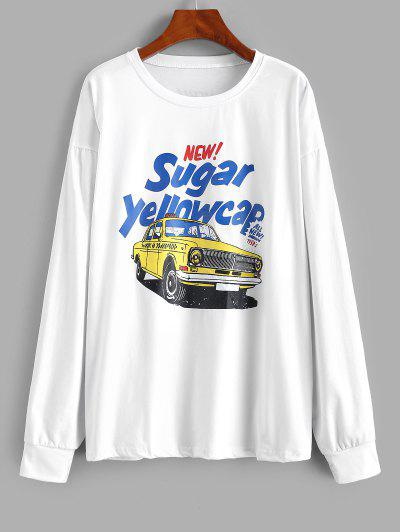 Letter Car Print Drop Shoulder Sweatshirt - White M