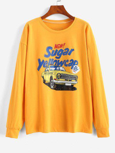 Sweat-shirt Lettre Et Voiture Imprimées à Goutte Epaule - Jaune M