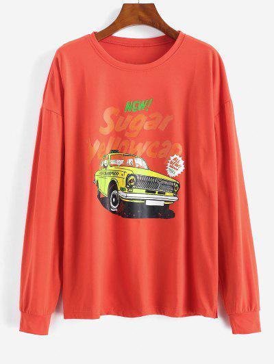 Letter Car Print Drop Shoulder Sweatshirt - Red M