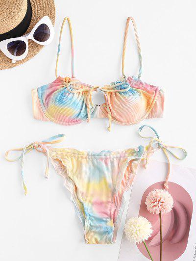 ZAFUL Rainbow Of Mermaid Keyhole String Bikini Swimwear - Light Orange S