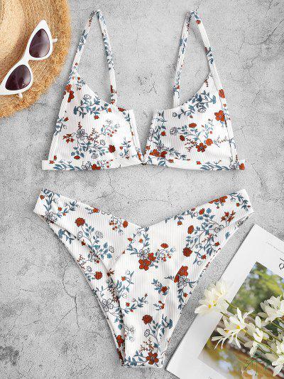 ZAFUL Floral Ribbed V Notch High Cut Bikini Swimwear - White S