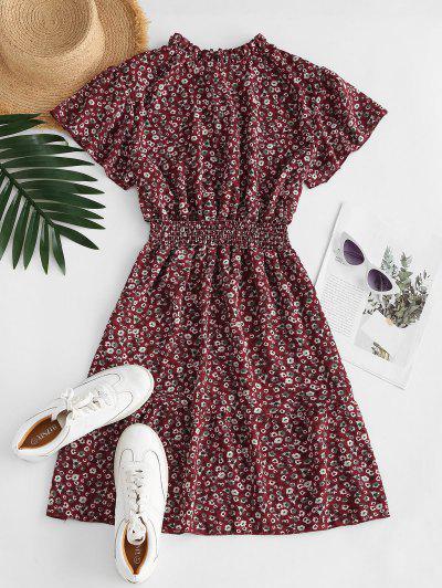 Ditsy Floral Ruff Collar Flutter Sleeve Dress - Deep Red M