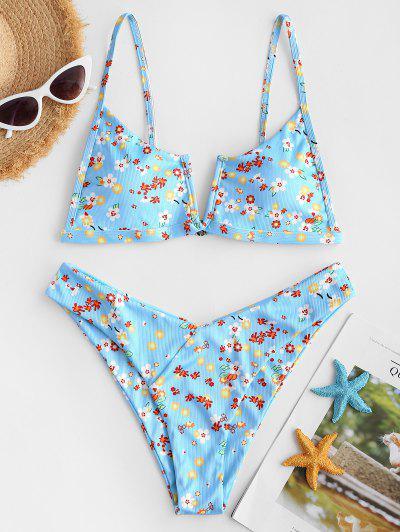 ZAFUL Floral Ribbed V Notch High Cut Bikini Swimwear - Light Blue L