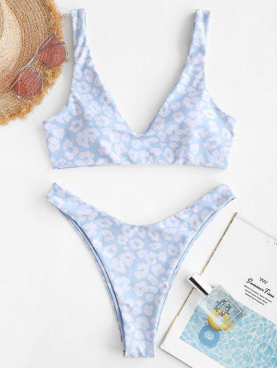 ZAFUL Hochgeschnittener Leopard Herz Valentinstag Bikini Badebekleidung - Hellblau M