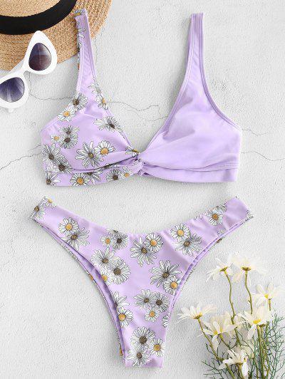 ZAFUL Daisy Print Twist High Cut Bikini Swimwear - Light Purple M