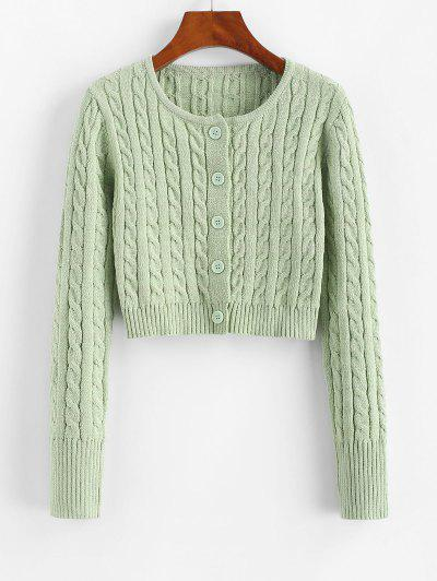 Cable Knit Button Up Fitted Crop Cardigan - Light Green