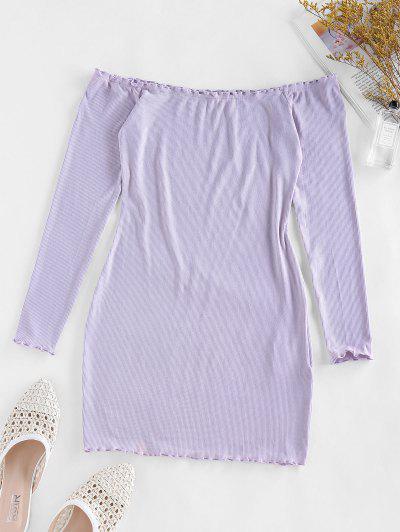 ZAFUL Off Shoulder Lettuce Trim Ribbed Bodycon Dress - Wisteria Purple Xl