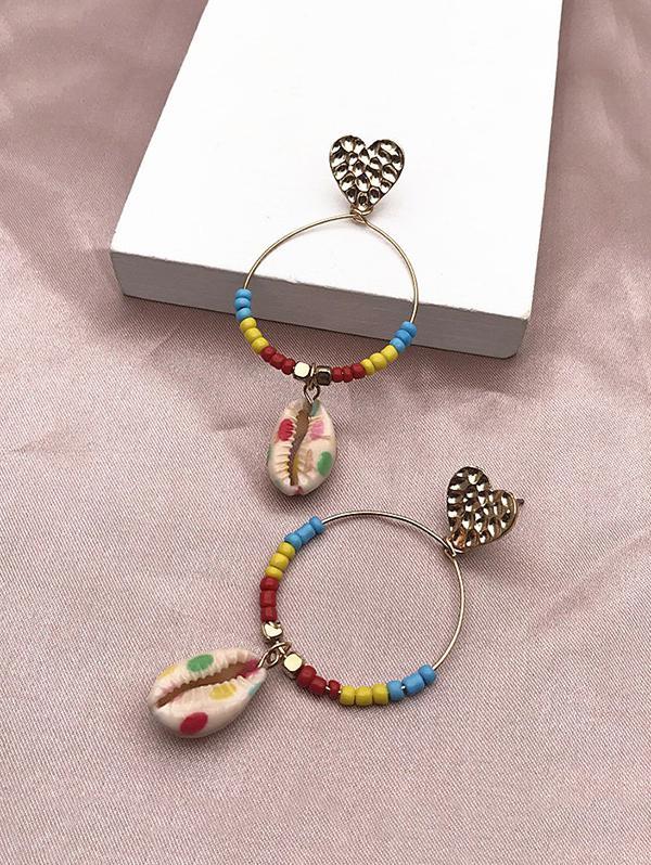 Beads Shell Heart Circle Earrings