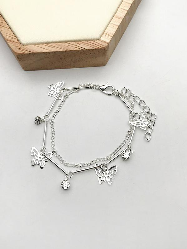 Hollow Butterfly Layered Charm Bracelet