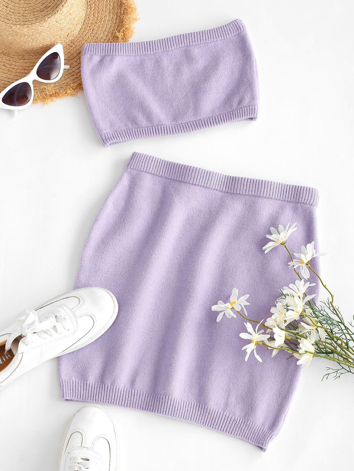 ZAFUL Two Piece Knitted Bandeau Top And Skirt Set