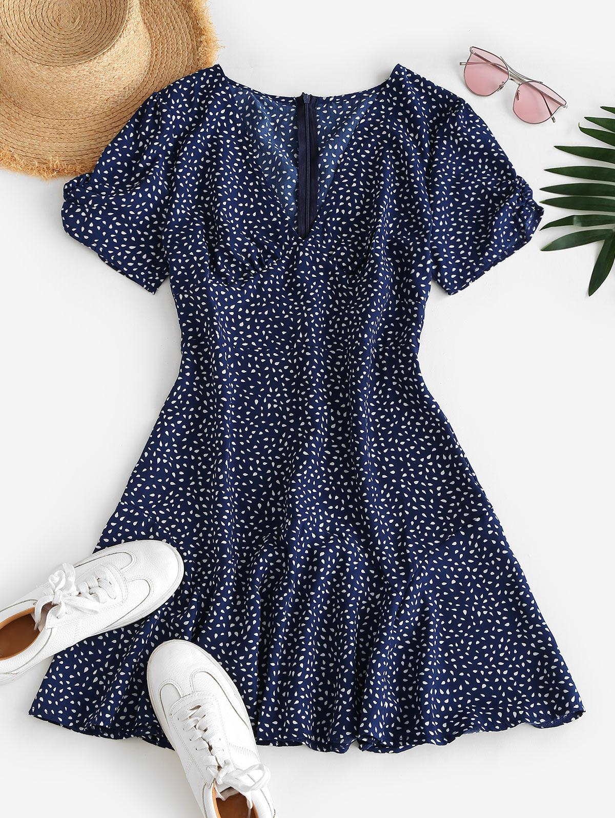 Ditsy Print Plunging A Line Tea Dress