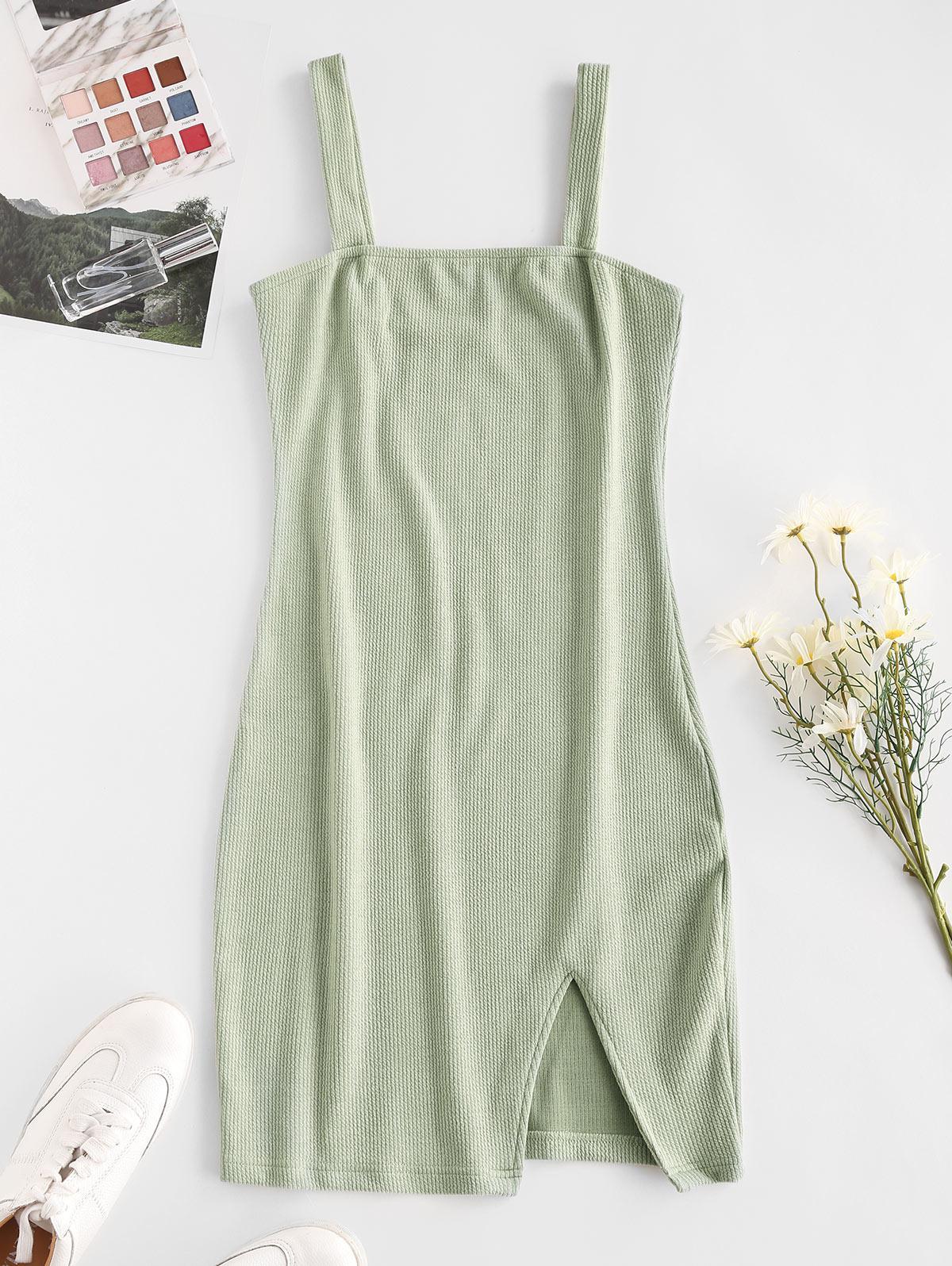 Ribbed Slit Sheath Dress