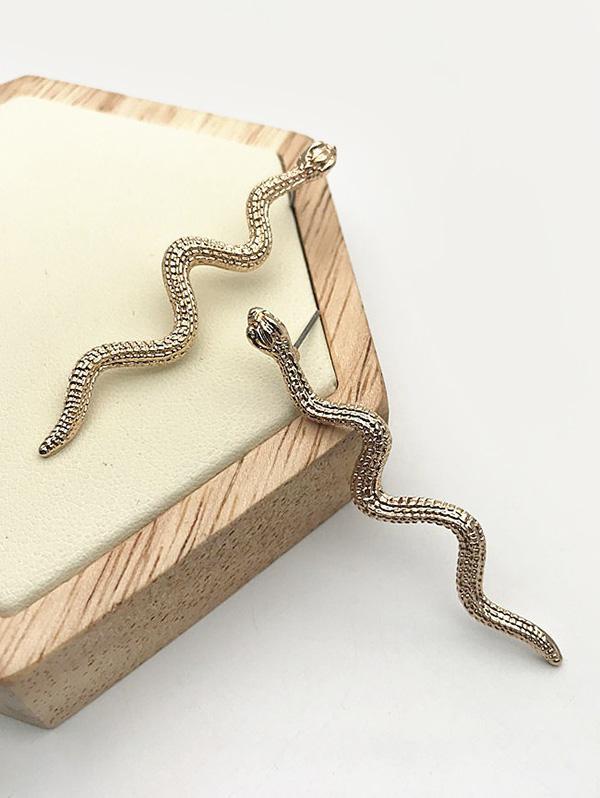 Carved Snake Shape Stud Earrings