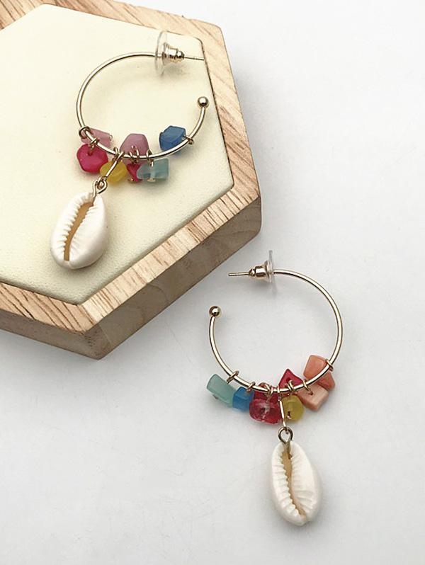 Shell Stone C Shape Earrings