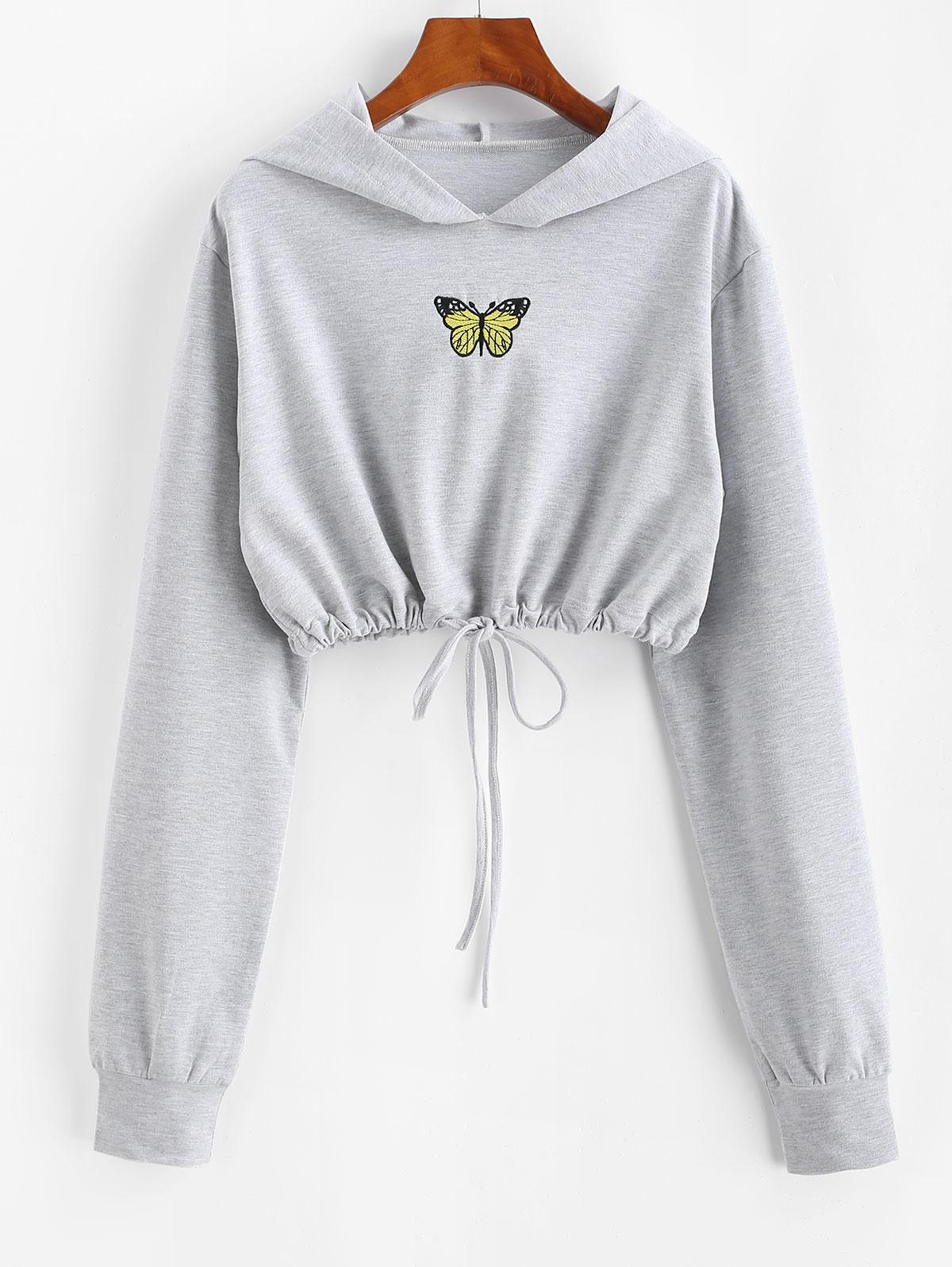Marled Butterfly Embroidered Drawstring Hem Cropped Hoodie