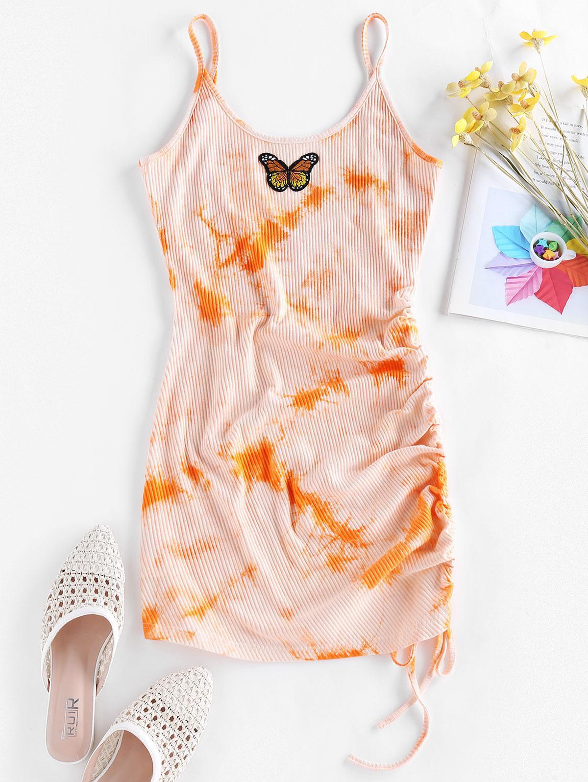 ZAFUL Butterfly Embroidery Tie Dye Cinched Dress