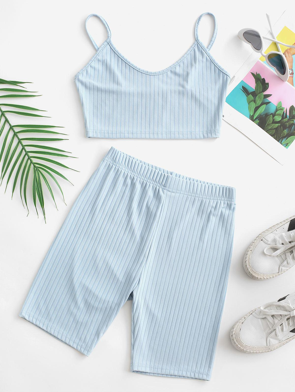 Two Piece Ribbed Cropped Biker Shorts Set