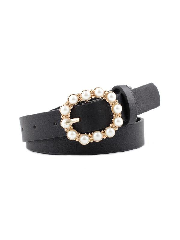 Faux Pearl Buckle PU Leather Waist Belt