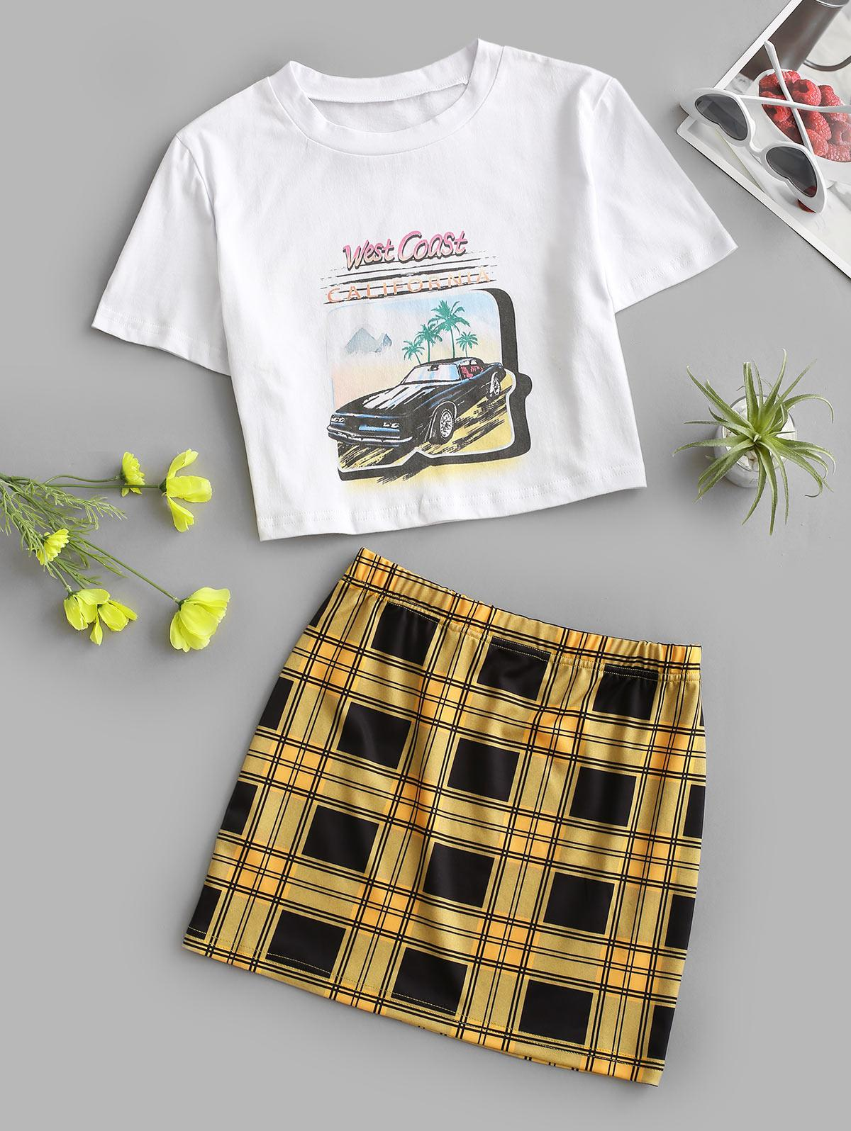 Plaid Letter Car Graphic Skirt Set