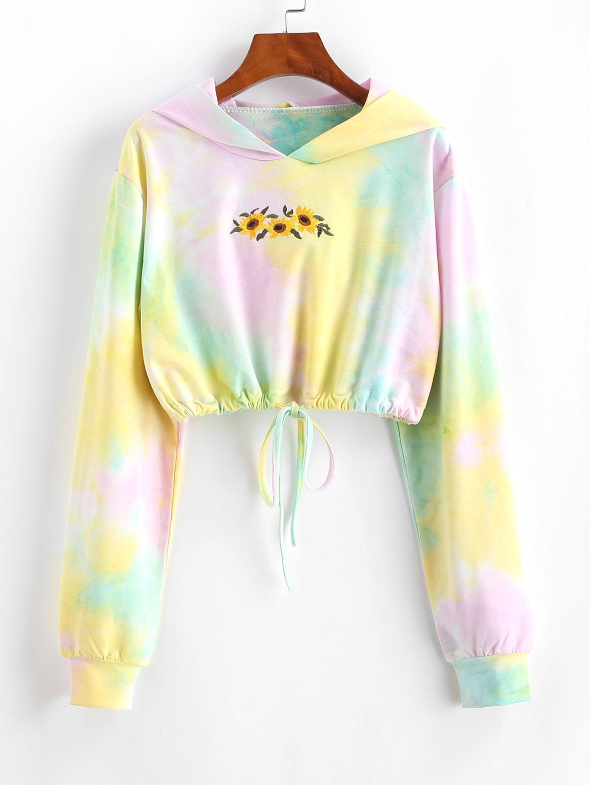 Tie Dye Sunflower Embroidered Copped Hoodie