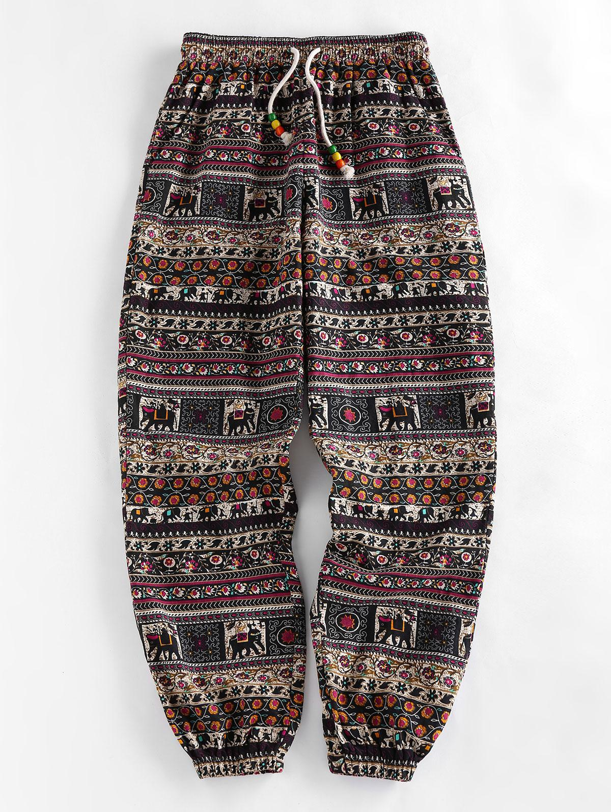 ZAFUL Tribal Print Beading Drawstring Jogger Pants Set