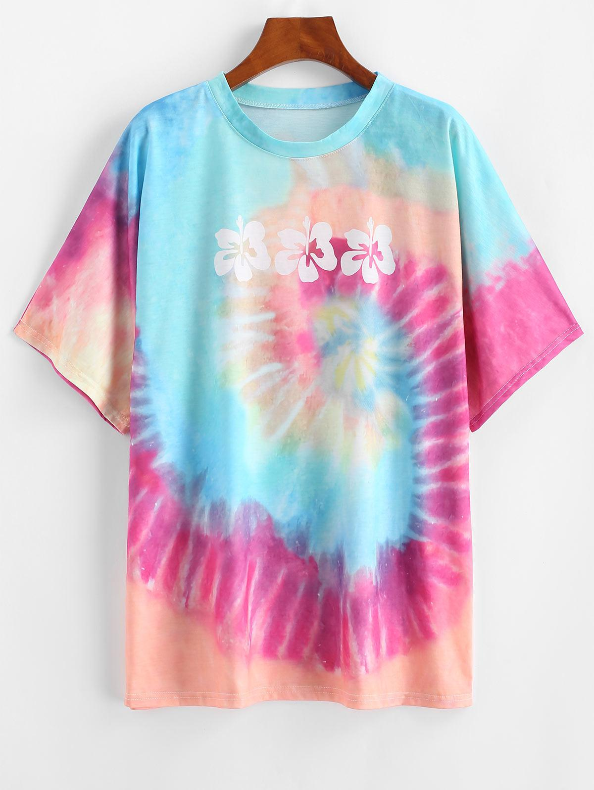 Floral Rainbow Tie Dye Boyfriend T-shirt