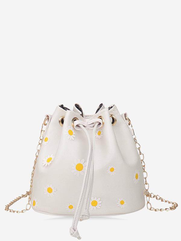 Daisy Print Drawstring Chain Bucket Bag