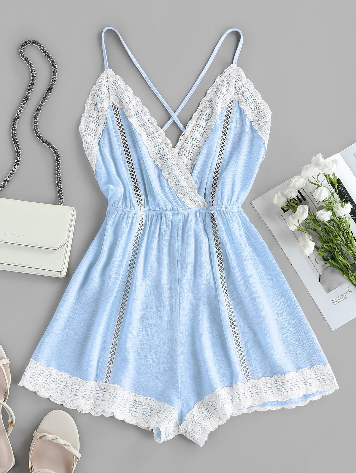 ZAFUL Lace Insert Hollow Out Crisscross Backless Romper
