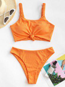 Knot Ribbed Tankini Swimwear