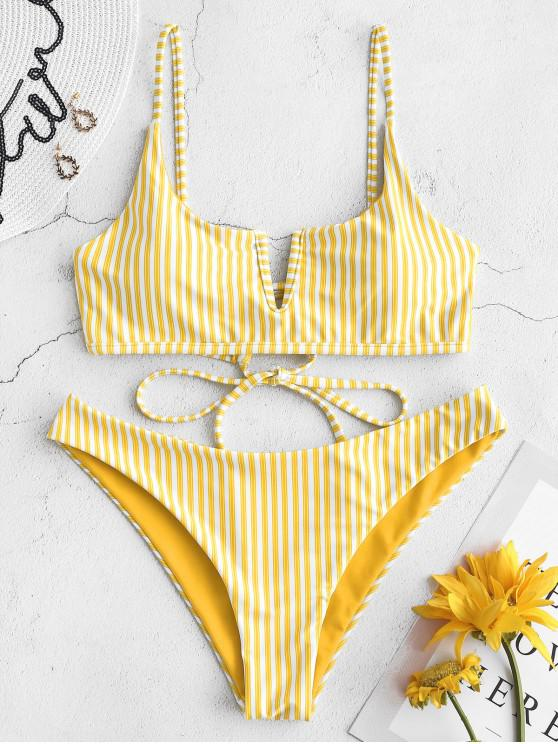 latest ZAFUL V-wired Reversible Striped Bikini Set - RUBBER DUCKY YELLOW L