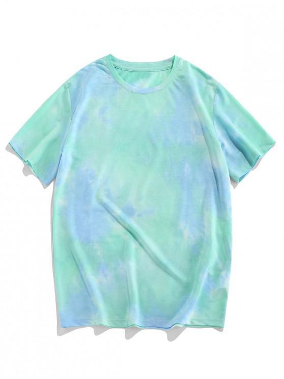 ZAFUL Tie Dye Print T Shirt - أخضر 2XL