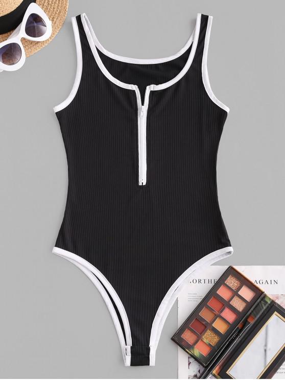 shops Ribbed Binding Zip Up Bodysuit - BLACK M