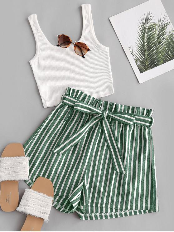 hot Ribbed Tank Top and Striped Print Paperbag Shorts Set - GREEN L