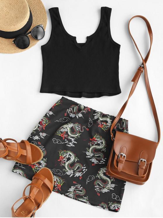 unique ZAFUL Ribbed V Notch Dragon Print Oriental Skirt Set - BLACK S