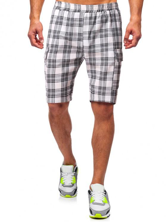 shop Plaid Print Side Pockets Casual Shorts - WHITE 2XL