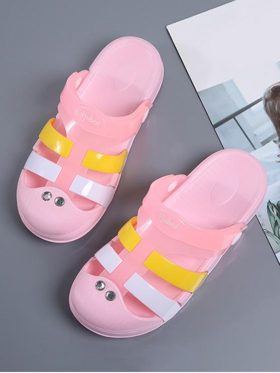 outfits Colorblock Jelly Closed Toe Hole Slides - PINK EU 41