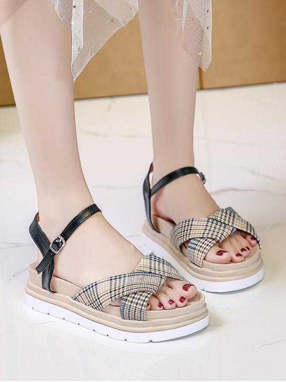 Houndstooth Print Crisscross Ankle Strap Sandals - أسود الاتحاد الأوروبي 40