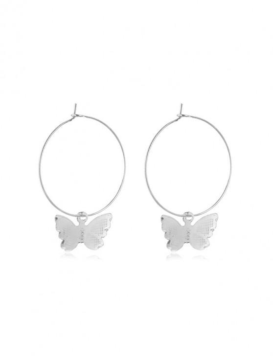 fashion Butterfly Hoop Earrings - SILVER 5*3.5CM