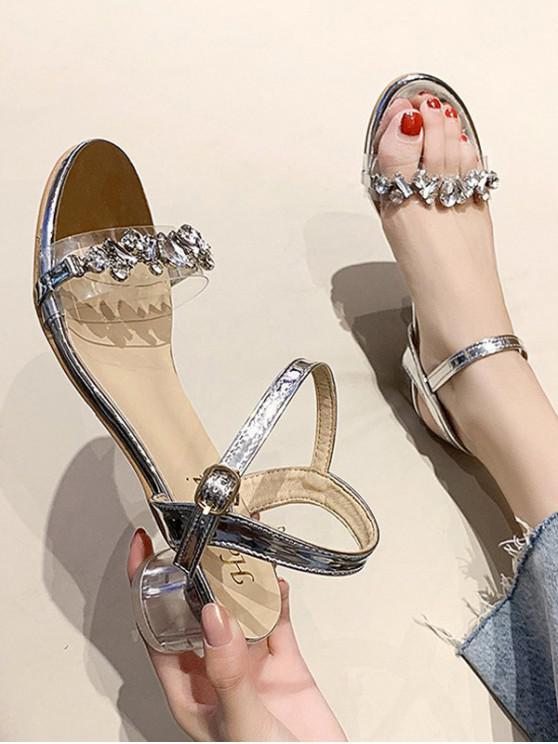 Rhinestone Embellished Ankle Strap Mid Heel Sandals - فضة الاتحاد الأوروبي 39