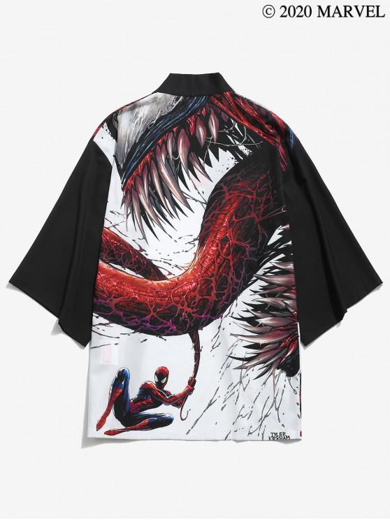 ladies Marvel Spider-Man Venom Open Front Kimono Cardigan - BLACK L